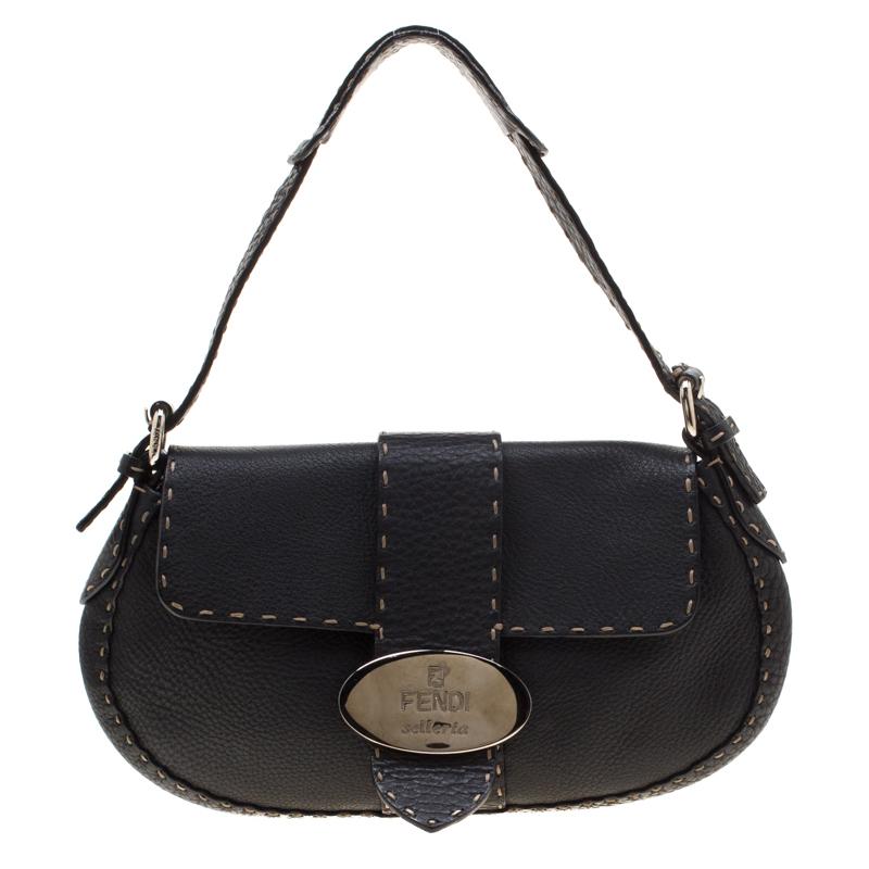 c8c291540b Buy Fendi Black Leather Selleria Shoulder Bag 200790 at best price | TLC