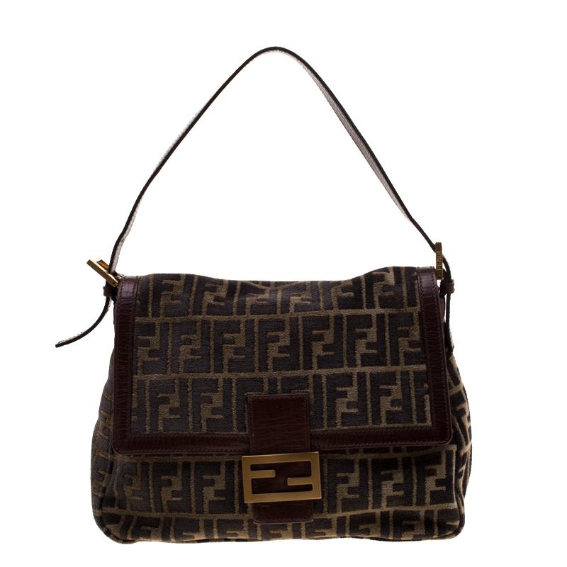 74fc585ec7 ... Fendi Brown Zucca Velvet and Leather Mama Forever Shoulder Bag.  nextprev. prevnext