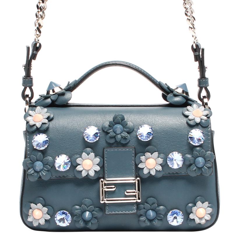 84077374f9c Fendi Blue Leather Flower Embellished Micro Double Baguette Bag