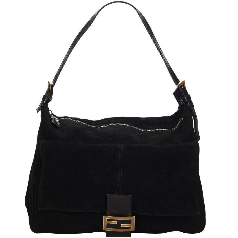 83acf56d Fendi Black Suede Mamma Shoulder Bag