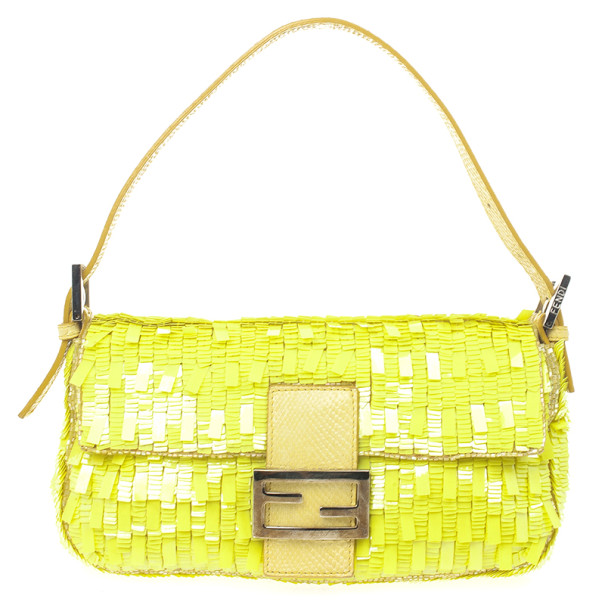 82bf60c98a06 ... Fendi Yellow Sequin and Snakeskin Baguette Bag. nextprev. prevnext