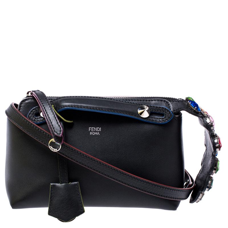 Fendi Black Calf Leather Small By The Way Crossbody Bag