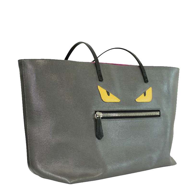 Fendi Grey Leather Monster Tote Bag  - buy with discount