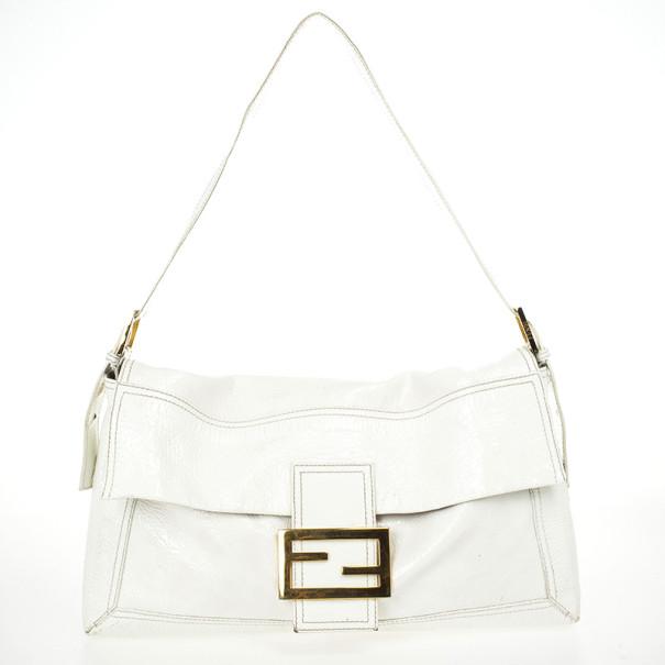 6fa44ab26e Fendi White Patent Shoulder Bag