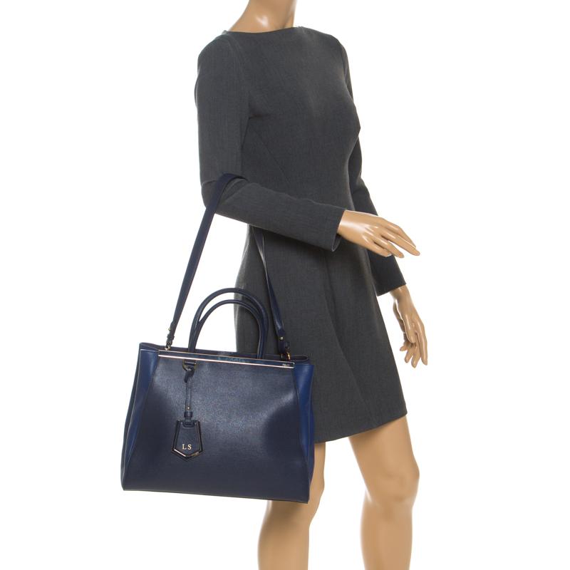 Fendi Blue Saffiano Leather Medium Sac 2jours Elite Tote
