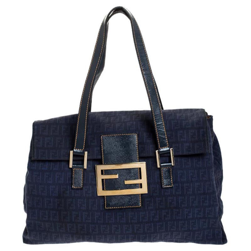 Fendi Blue Zucchino Canvas and Leather Forever Satchel