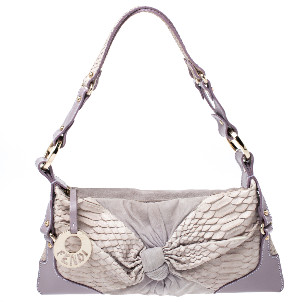 Fendi Lavender Python, Suede And Leather Knot Shoulder Bag In Purple