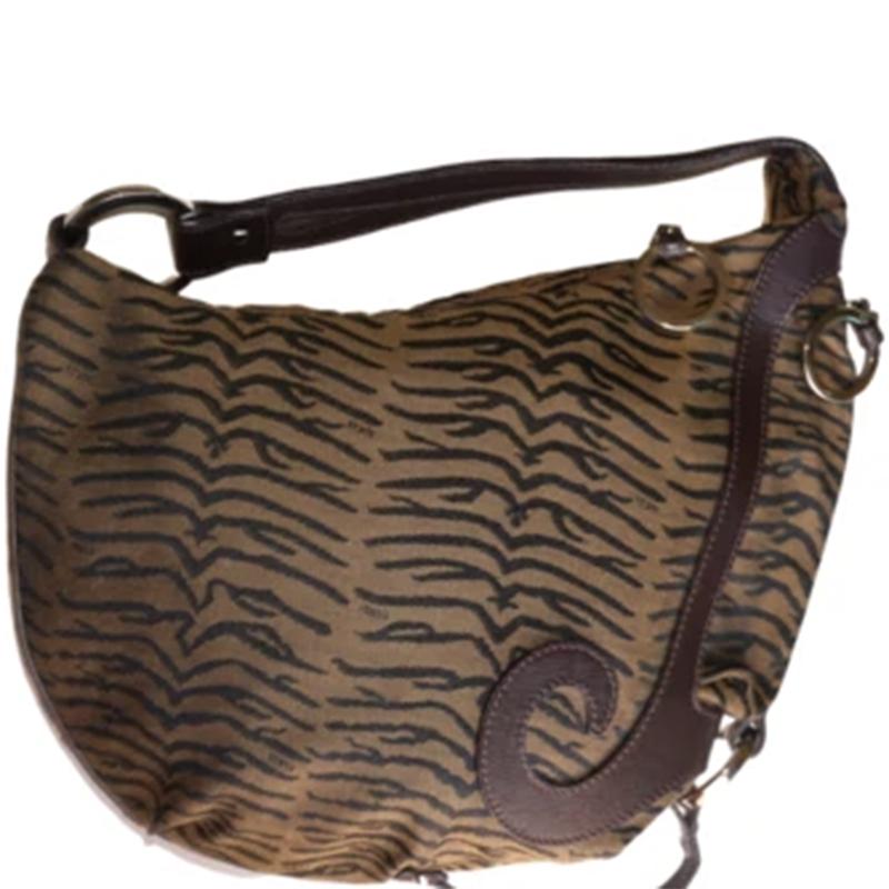 Fendi Brown/Black Animal Print Pony Hair Oyster Hobo