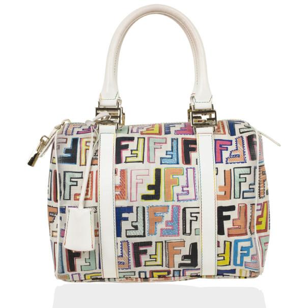 4b1d6192 Fendi White Multi Color Zucca Forever Boston Bag