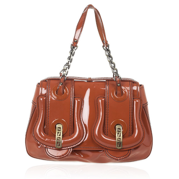 4f106e560a7e Buy Fendi Light Brown Patent Leather B Bag 28285 at best price
