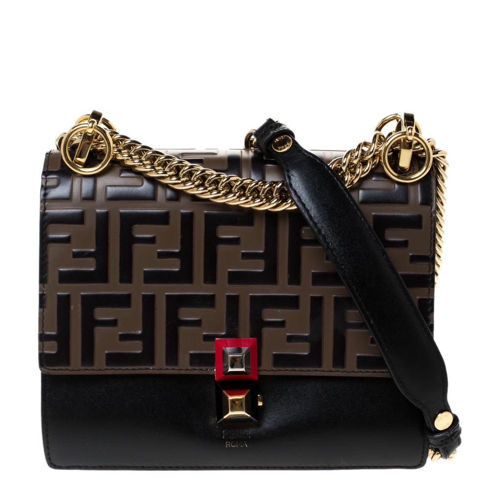 Fendi Brown Zucca Leather Mini Kan I Shoulder Bag