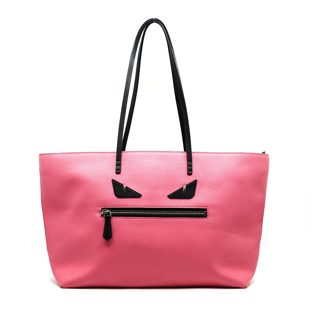 Fendi Pink Leather Roll Monster Tote