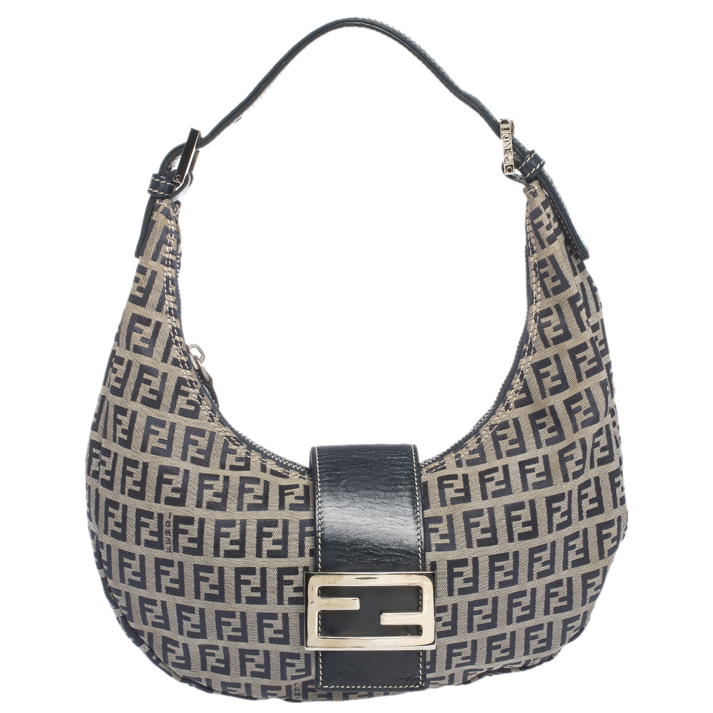 Fendi Navy Blue Zucchino Canvas and Leather Flap Hobo