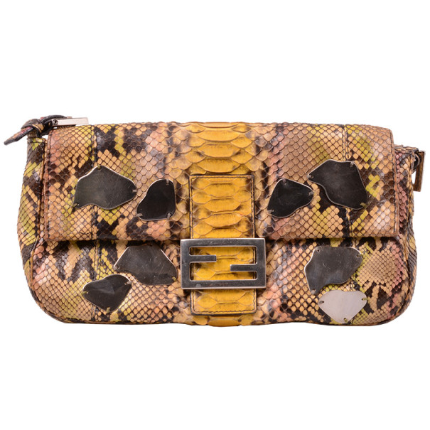 9bdb9041f87f Buy Fendi Yellow Python Baguette Bag 30777 at best price