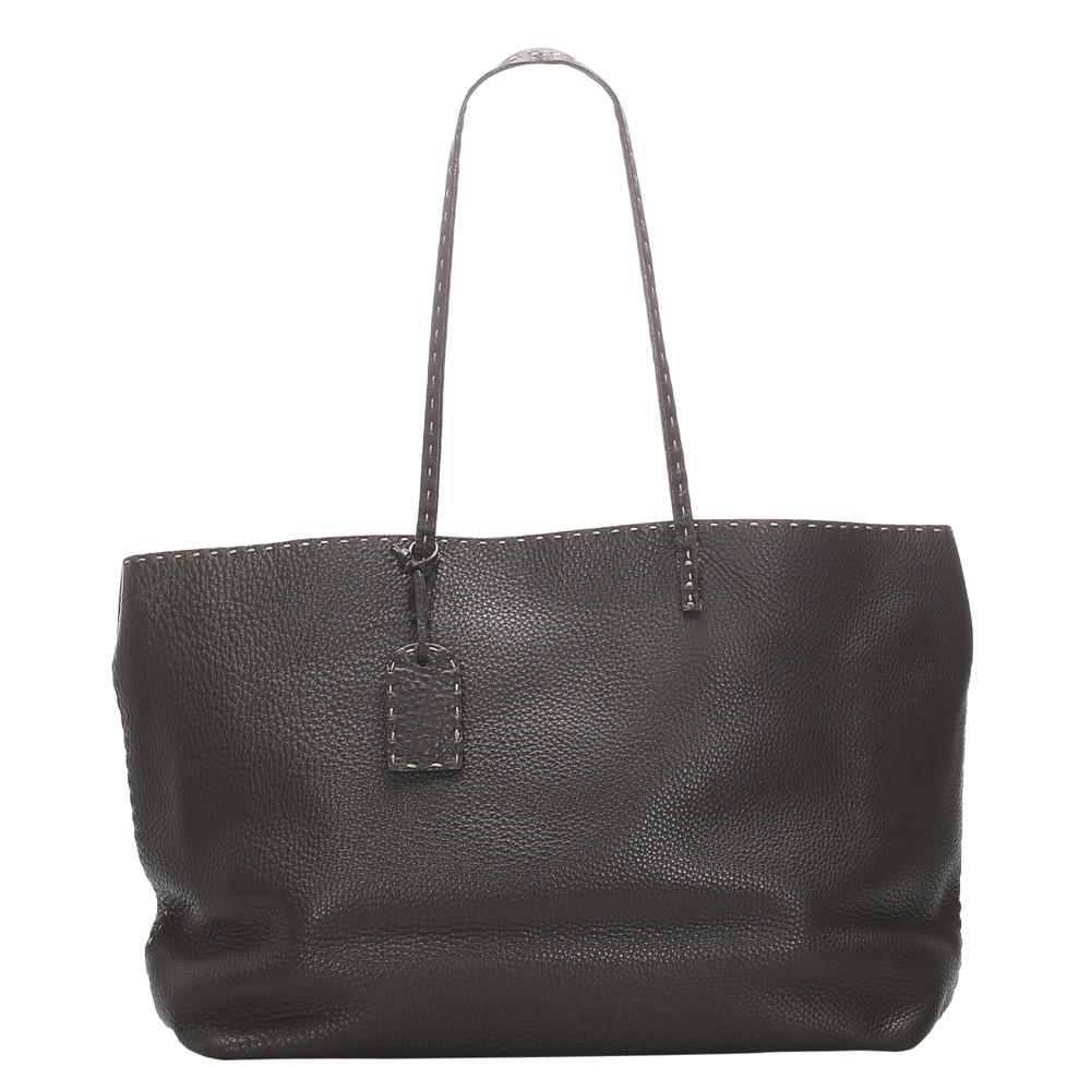 Fendi Brown Selleria Leather Tote Bag