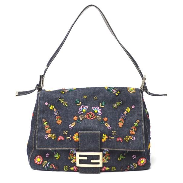 b2927bceed ... Fendi Denim Embroidered Flower Floral Beaded Baguette. nextprev.  prevnext