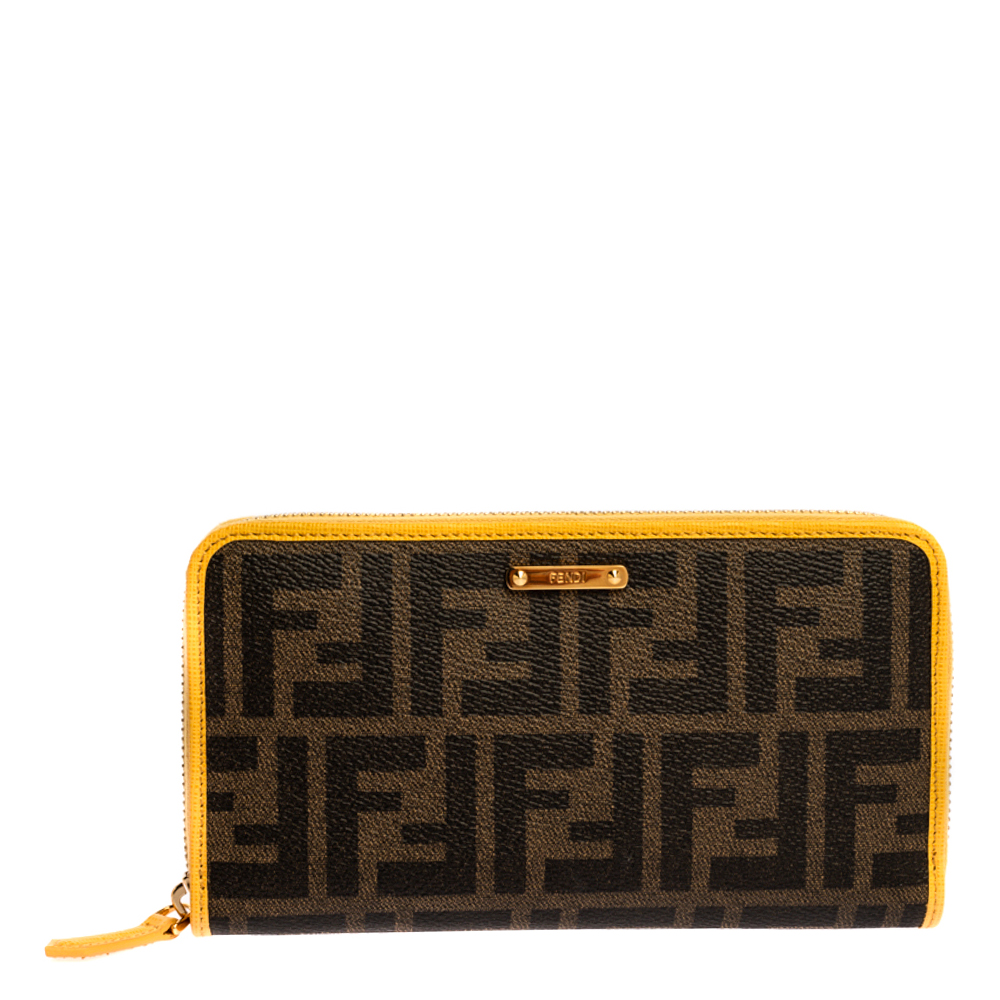 Fendi Tobacco/Yellow Zucca Coated Canvas Zip Around Continental Wallet