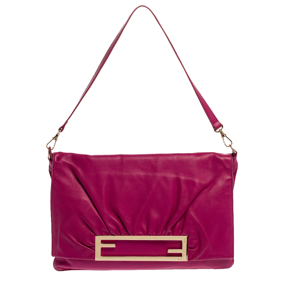 Pre-owned Fendi Purple Leather Cutout Flap Shoulder Bag