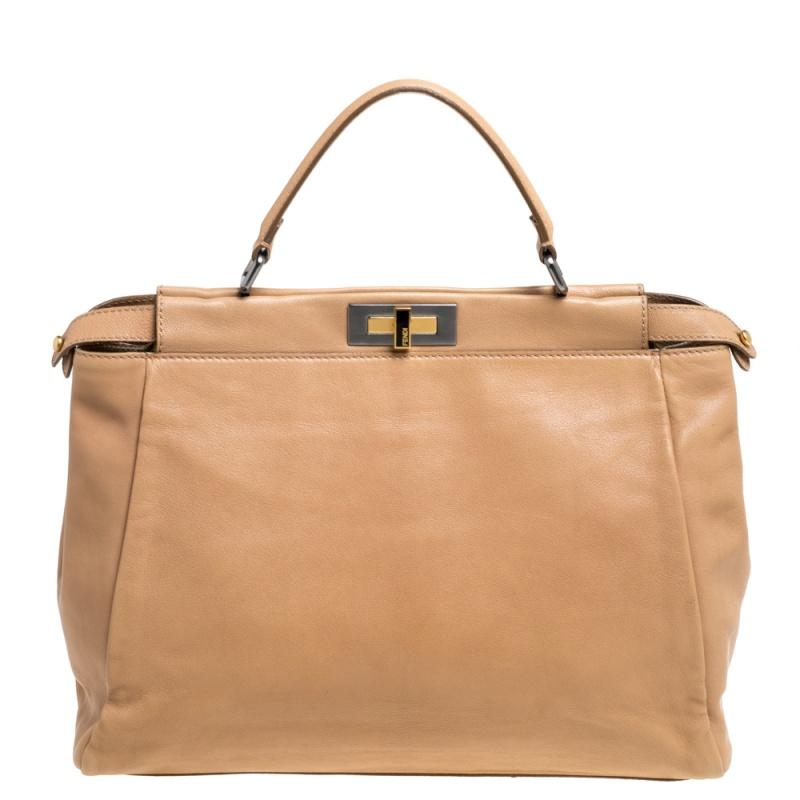 Pre-owned Fendi Beige Leather And Lizard Lining Large Peekaboo Top Handle Bag