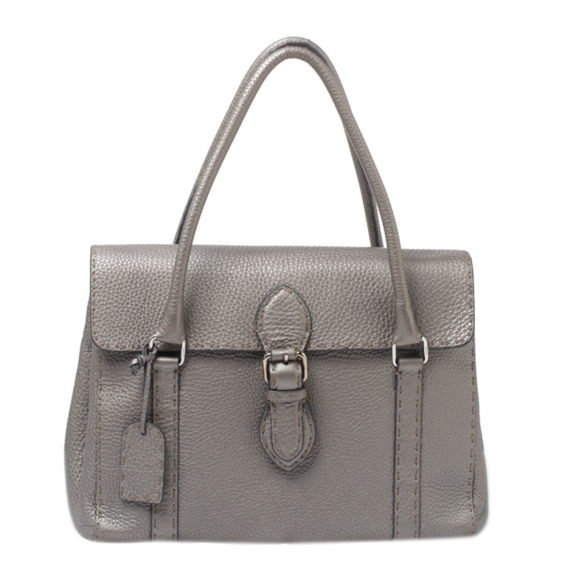 Pre-owned Fendi Grey Selleria Leather Linda Satchel