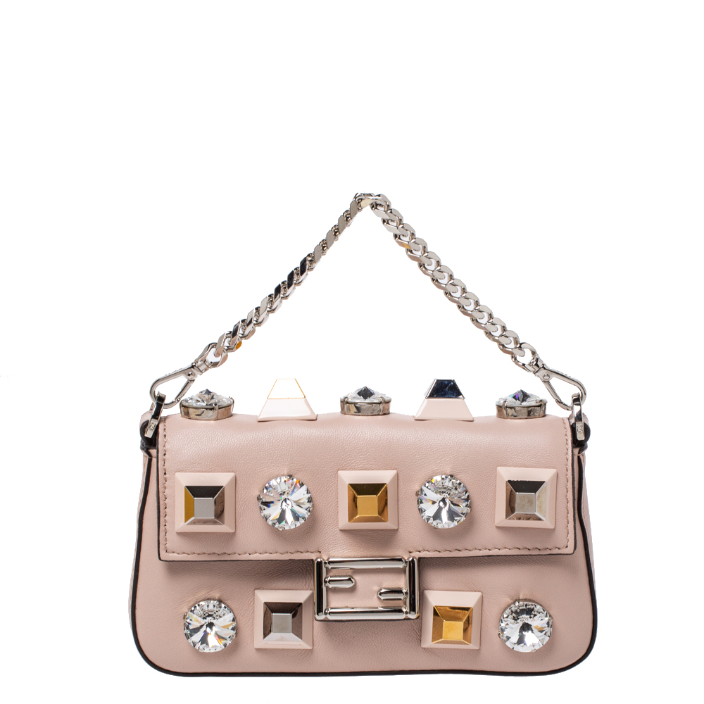 Pre-owned Fendi Pale Pink Crystal Studded Leather Micro Baguette Wallet On Chain