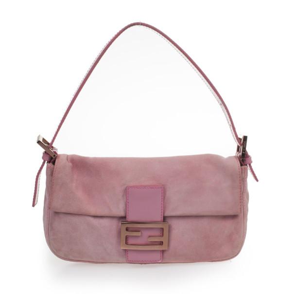 Fendi Pink Suede Baguette Shoulder bag