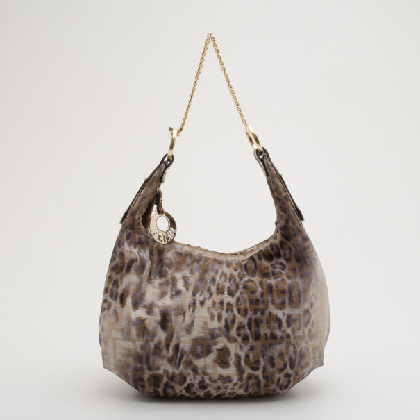 Buy Fendi Zucca Leopard Print Chef Chain Hobo 34611 at best price  abd513c97b0e9