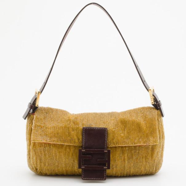 b5395d013539 Buy Fendi Golden Beaded Baguette Bag 35232 at best price