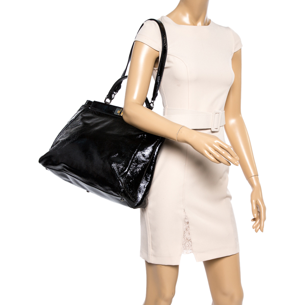 Fendi Black Patent Leather Large Peekaboo Top Handle Bag  - buy with discount