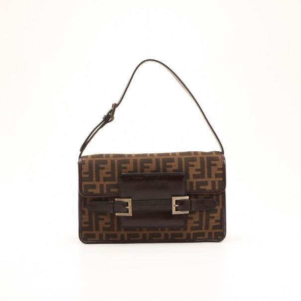 0d59767aa12e Buy Fendi Tobacco Monogram Zucca Shoulder Bag 36106 at best price