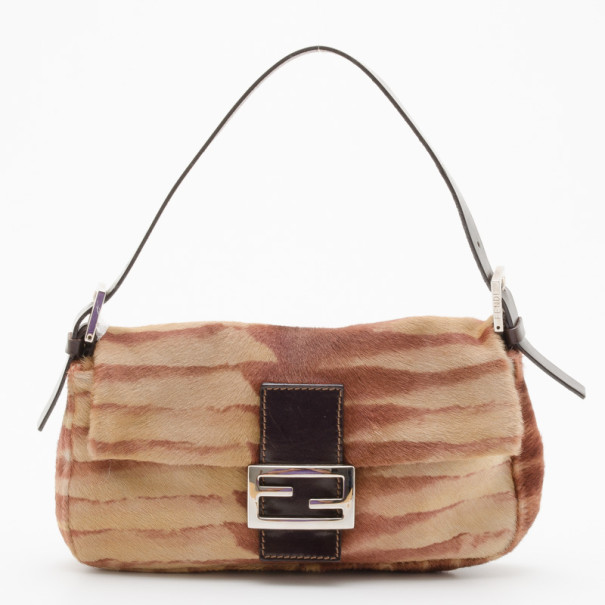 fc0c85bc1b Buy Fendi Tiger Stripe Pony Hair Baguette Bag 36354 at best price