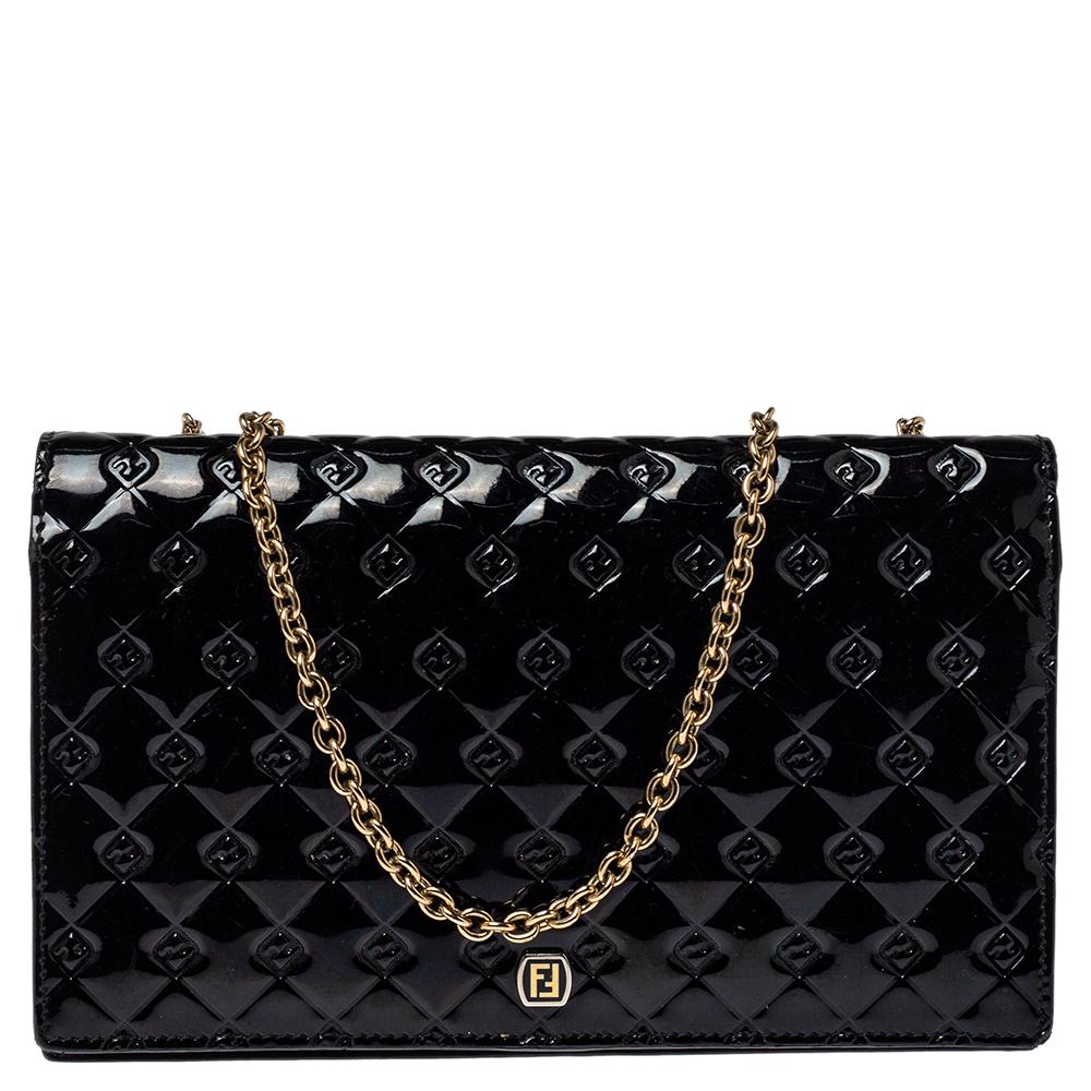 Fendi Black Patent Leather Fendilicious Wallet on Chain