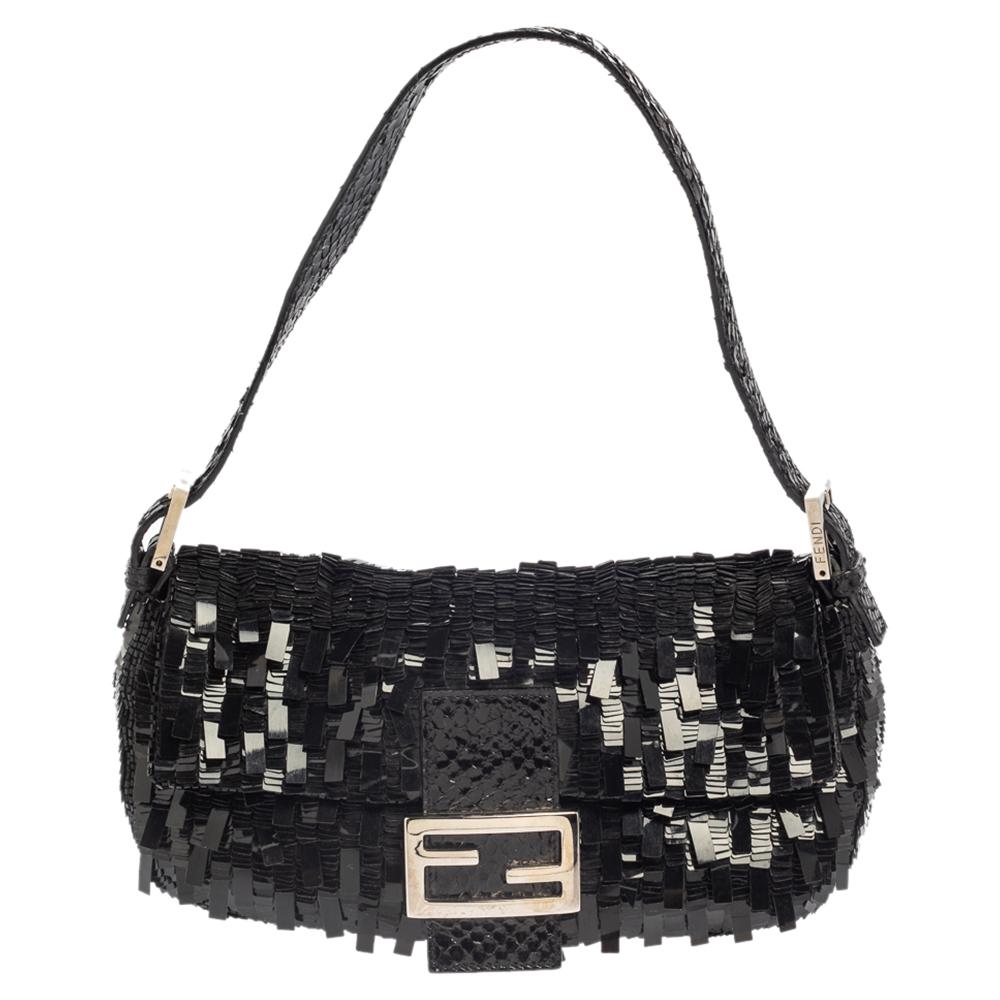Fendi Black Sequins Paillettes and Snakeskin Mama Baguette Bag