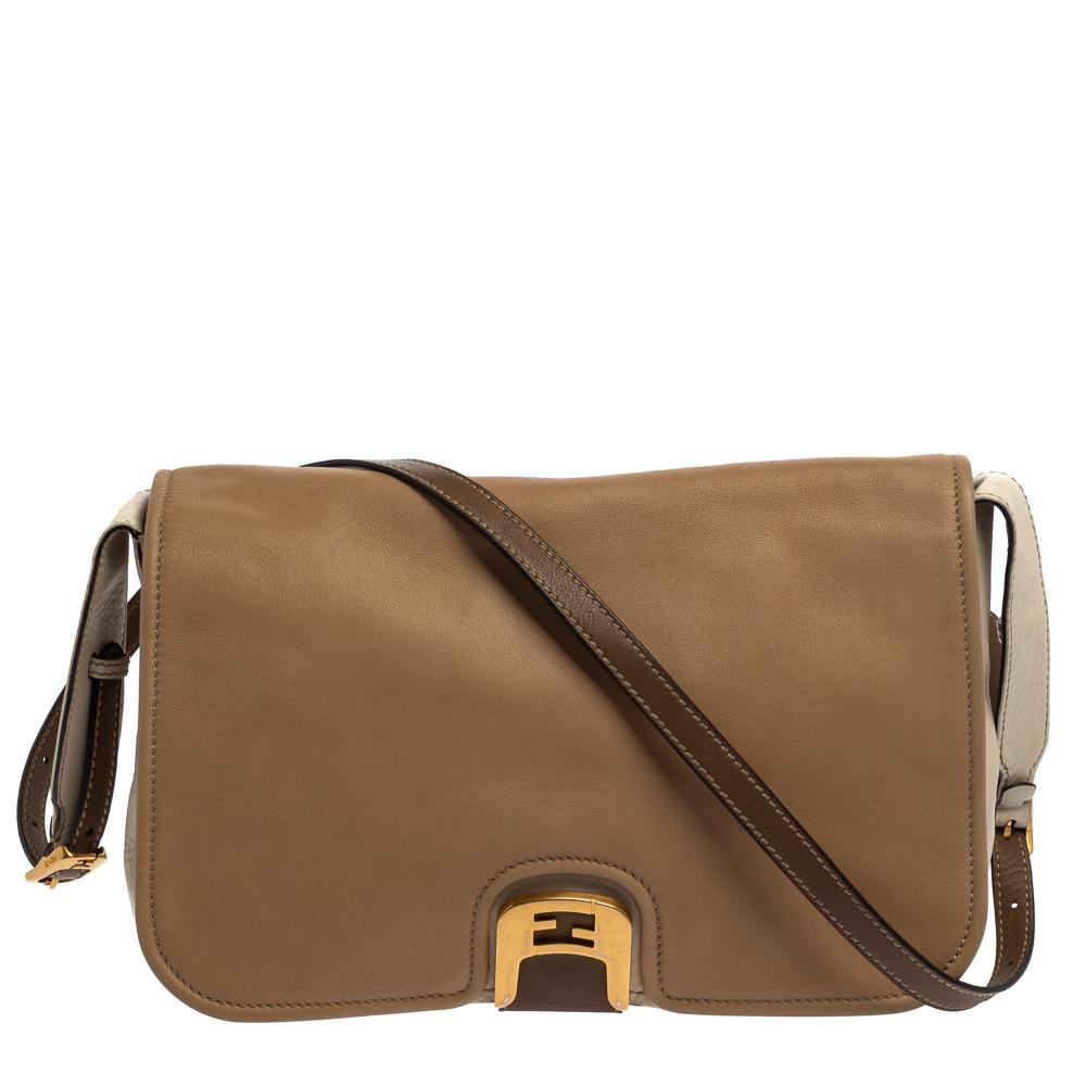 Pre-owned Fendi Tri Color Leather Chameleon Crossbody Bag In Multicolor