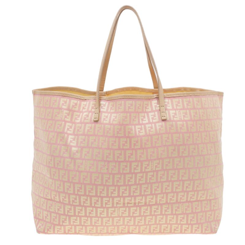 5835f4761f Buy Fendi Pink Gold Zucchino Roll Tote Bag 39581 at best price | TLC