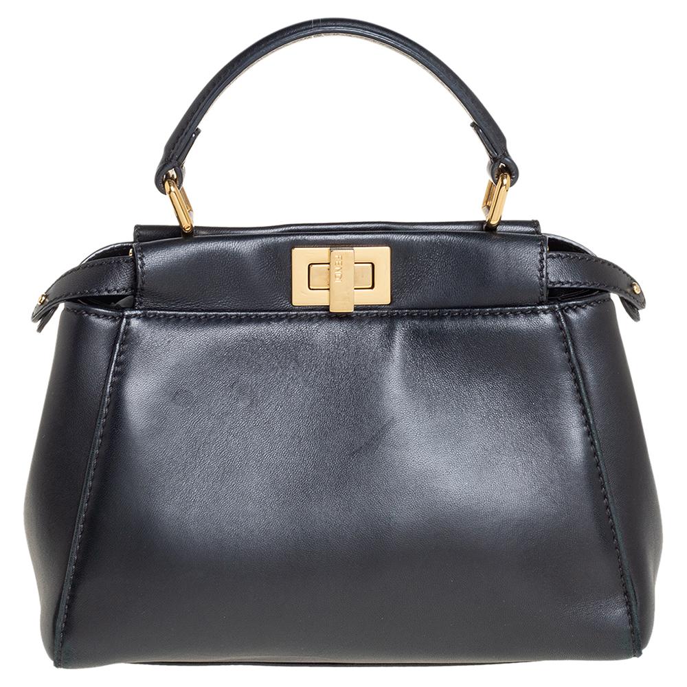 Pre-owned Fendi Black Leather Mini Peekaboo Top Handle Bag