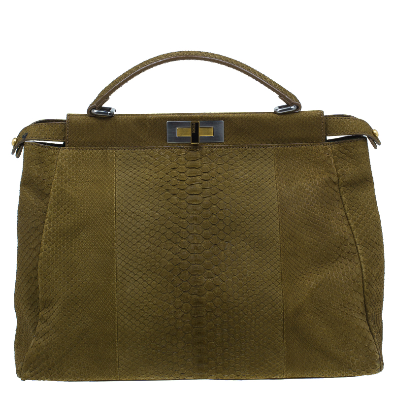 c63156d1c70c ... Fendi Military Green Matte Python Leather Large Peekaboo Bag. nextprev.  prevnext