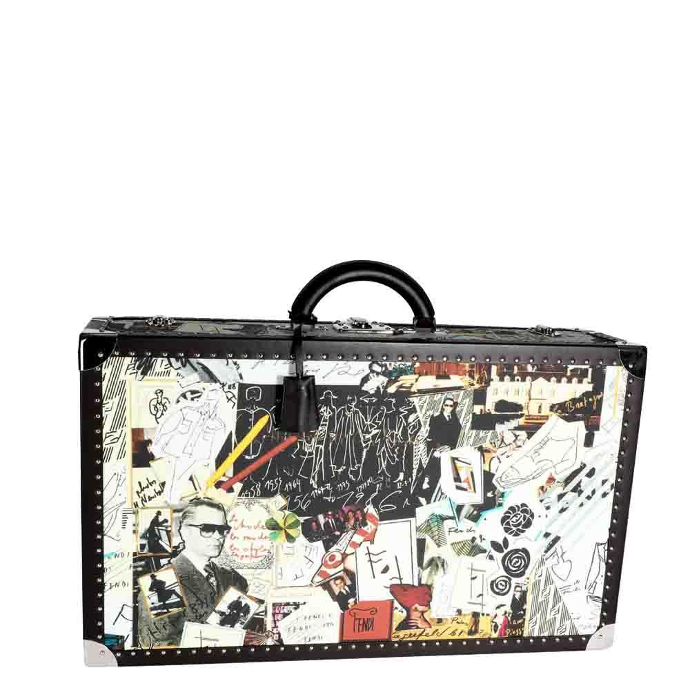 Pre-owned Fendi Multicolor Karl Kollage Travel Trunk Suitcase