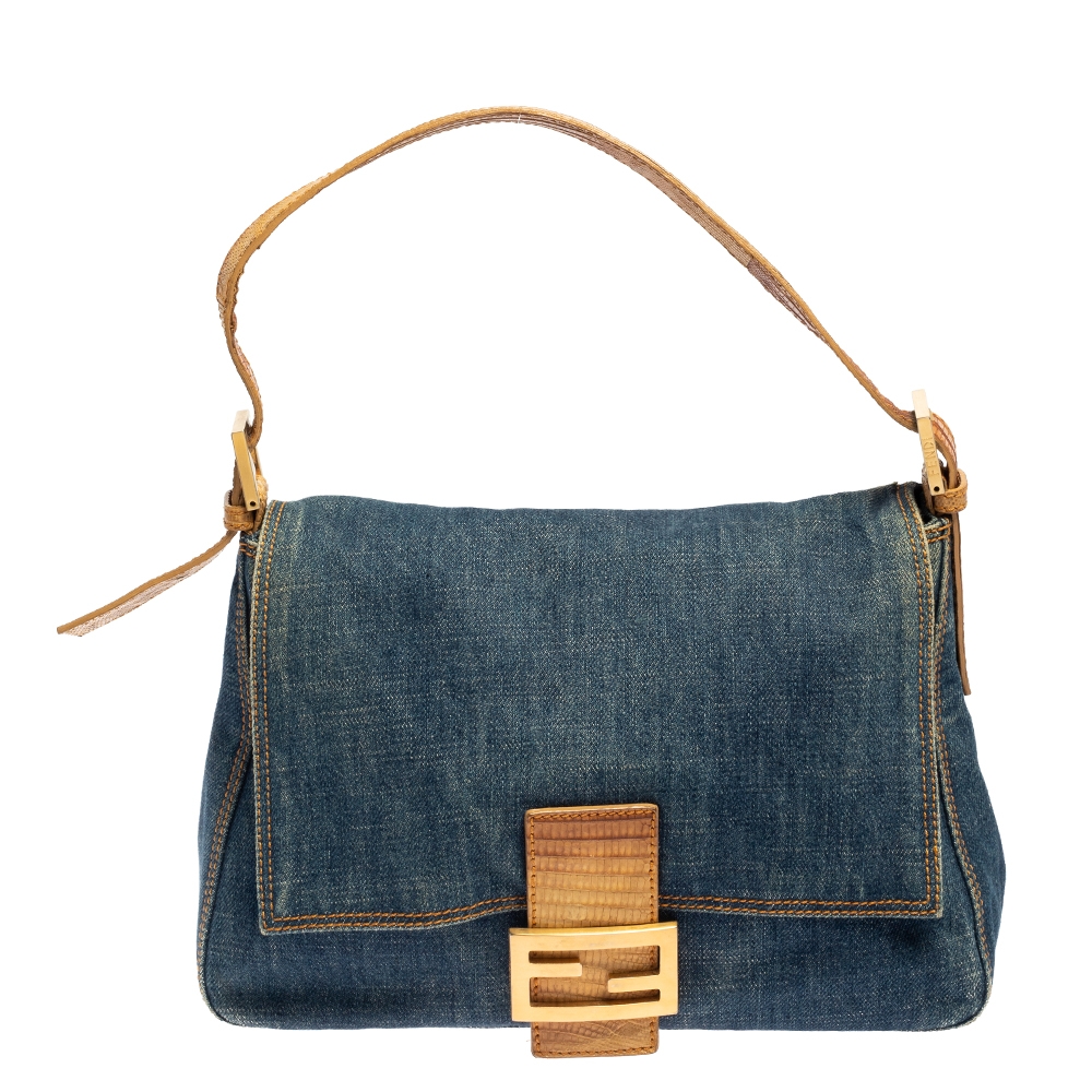 Pre-owned Fendi Blue/beige Denim And Lizard Mama Baguette Bag