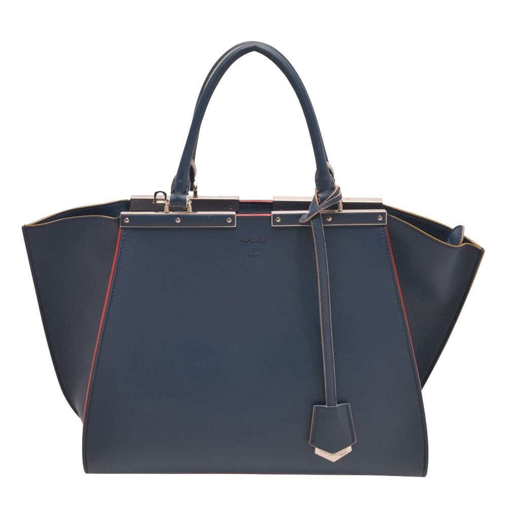 Pre-owned Fendi Blue Leather 3jours Large Tote Bag