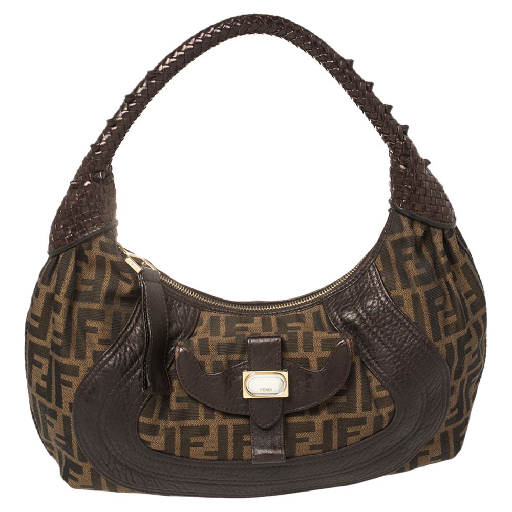 Pre-owned Fendi Tobacco Zucca Canvas And Leather Hobo In Brown