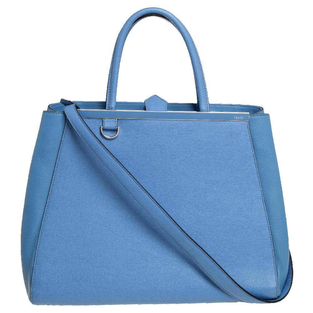 Pre-owned Fendi Light Blue Leather Medium 2jours Tote