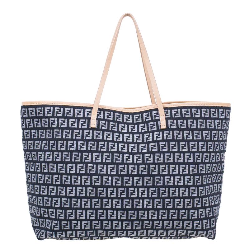0287f9d7ea8 Buy Fendi Dark Blue Zucchino Canvas Roll Tote Bag with Pouch 45327 ...