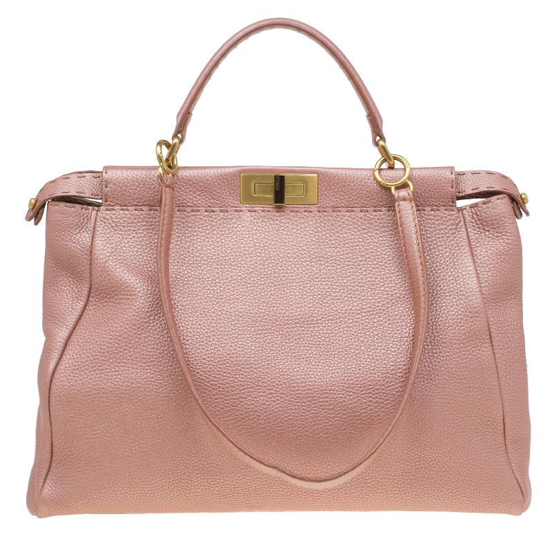 d3cd3b9b3f42 ... Fendi Metallic Pink Selleria Leather Large Peekaboo Top Handle Bag.  nextprev. prevnext