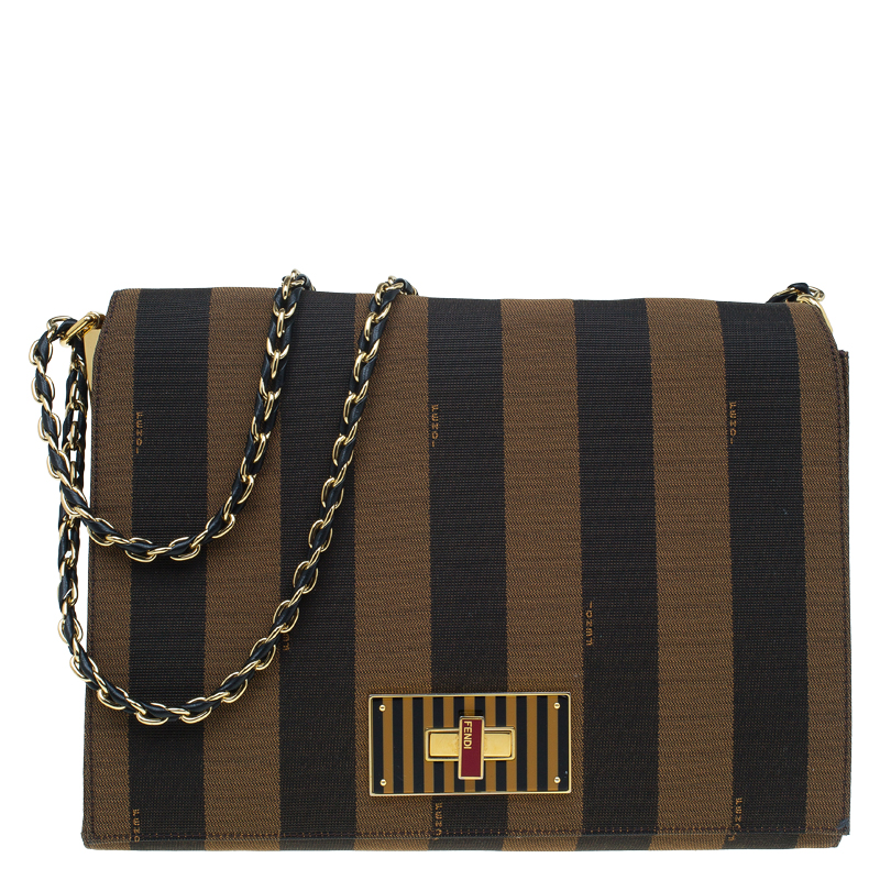 ... Fendi Tobacco Canvas Large Pequin Stripe Claudia Shoulder Bag.  nextprev. prevnext f4360eb1b7c25