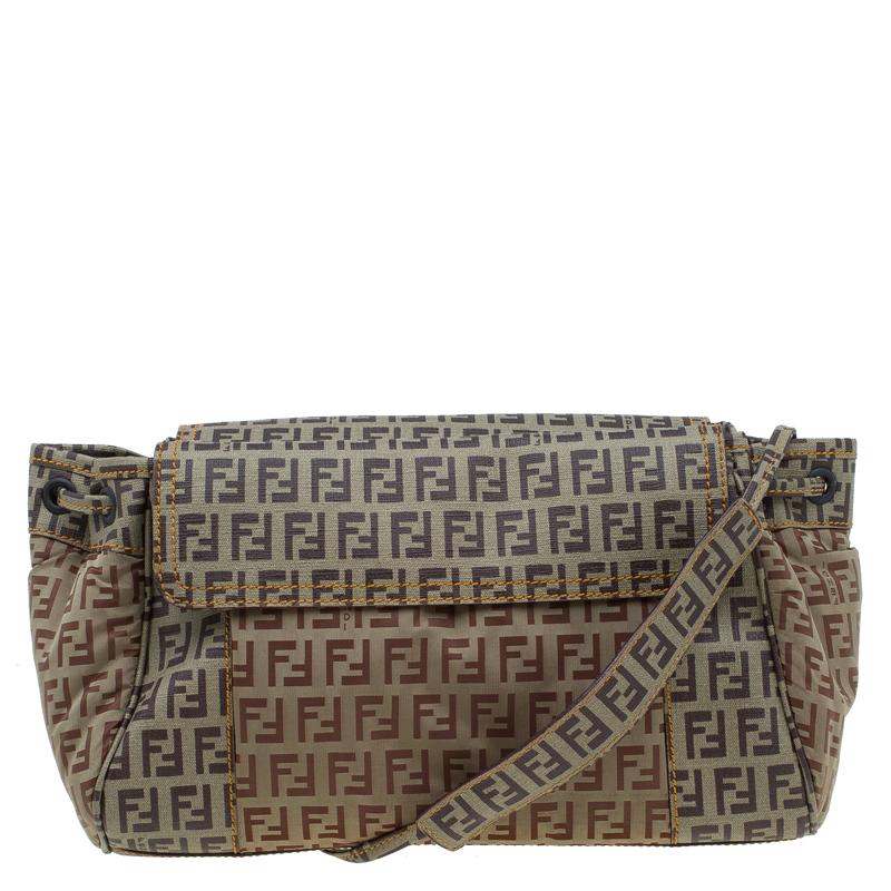 35a10fd83f ... Fendi Beige Brown Zucchino Coated Canvas Drawstring Flap Crossbody Bag.  nextprev. prevnext