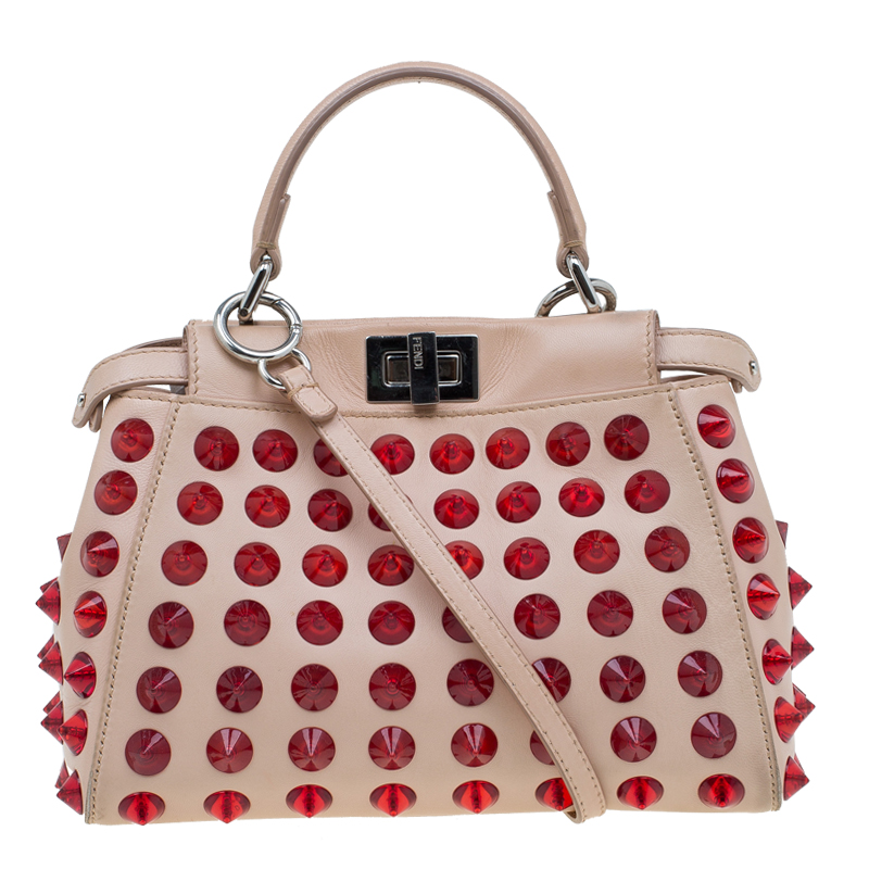 e71cf97235 Buy Fendi Pink/Red Leather Mini Studded Peekaboo Top Handle Bag ...