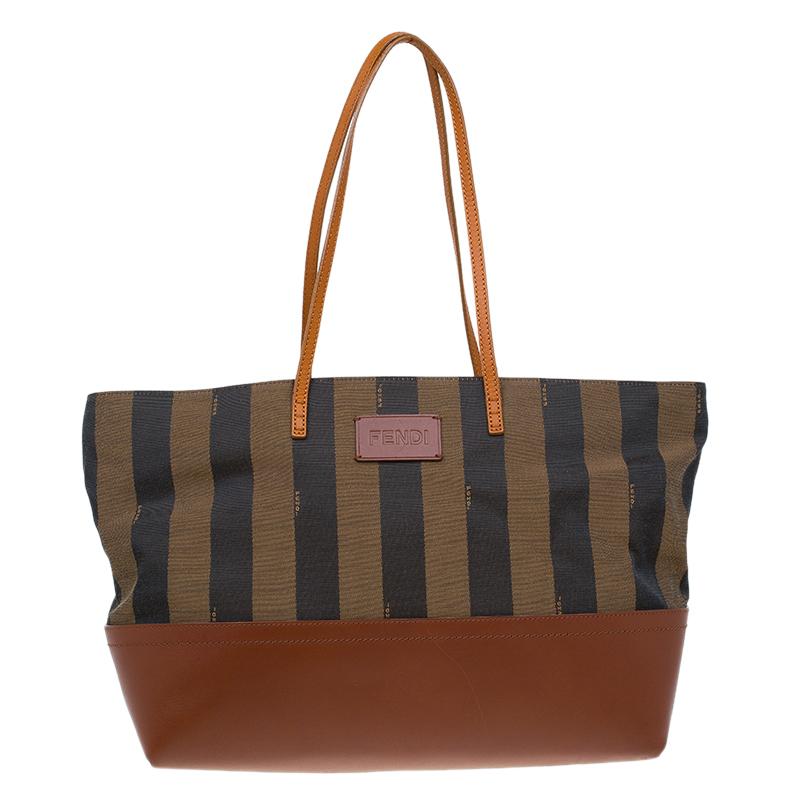 ... Fendi Tobacco Brown Pequin Striped Canvas and Leather Roll Tote.  nextprev. prevnext 7f47c7047f