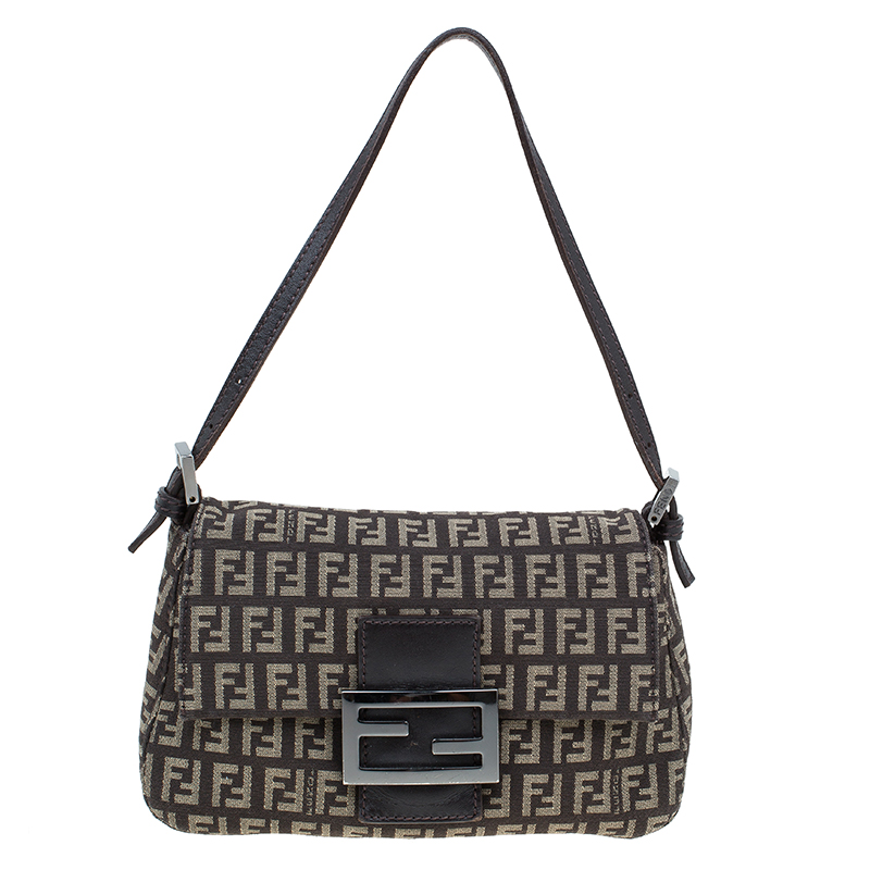 588ad97ba318 Buy Fendi Brown Zucchino Canvas Mini Mama Baguette Bag 58729 at best ...