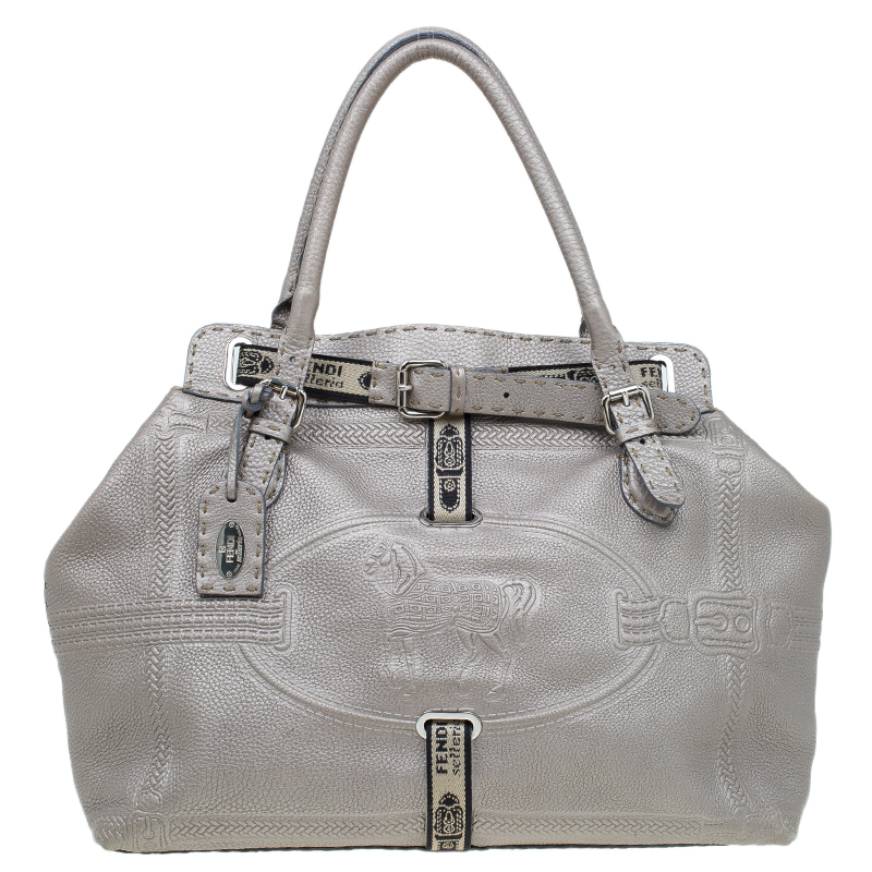 a29a8735e3 ... Fendi Grey Leather Villa Selleria Borghese Tote. nextprev. prevnext